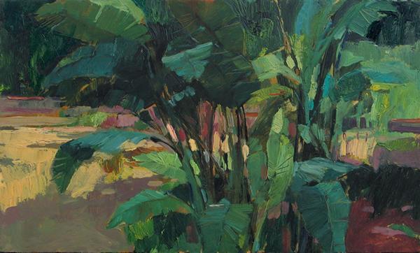 Jardines en Cádiz, Jandro López, óleo sobre tabla