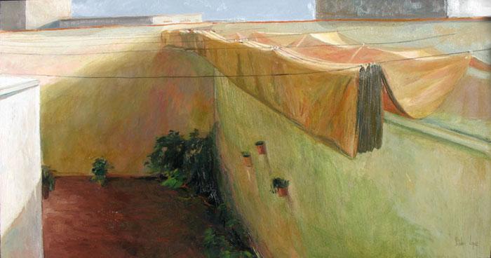 El toldo, Jandro López, óleo sobre tabla